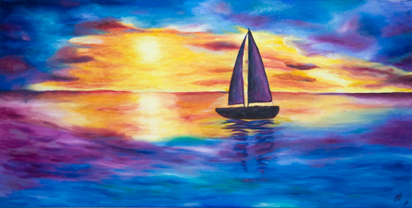 Painting – Glowing Sunset Sail