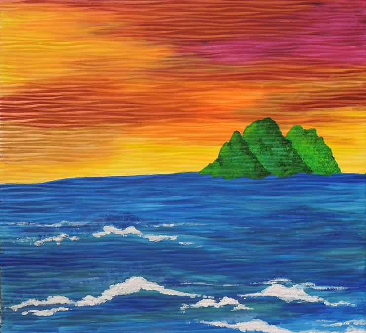 Painting- Shimmering Sunset & Waves